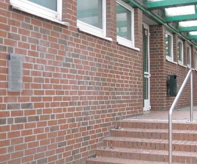 Erinnerungstafel im Eingangsbereich der Gesamtschule Gelsenkirchen-Horst. (Industriestrasse)