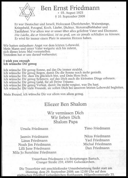 Verstorben: Ben Friedmann