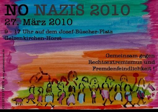 Veranstaltungsplakat der Kampagne NO NAZIS 2010. Ein Projekt von GELSENZENTRUM E.V. Gelsenkirchen