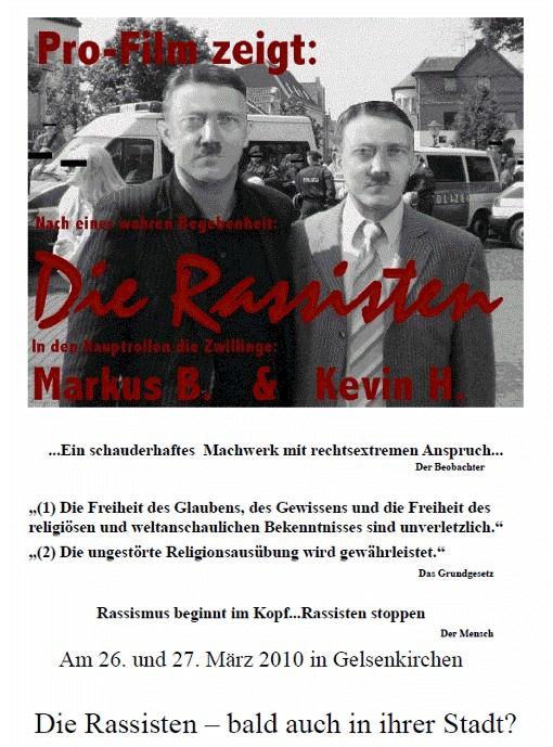 Pro-Film zeigt: Die Rassisten. Am 26. und 27. März 2010 in Gelsenkirchen