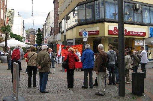 Protestaktion auf dem Preuteplatz in der Gelsenkirchner City