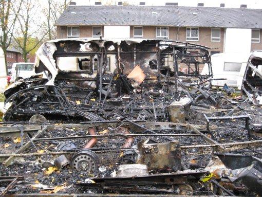 Ein Bild der Zerstörung: Das Winterquartier nach dem Brand