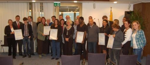 Die Preisträger aus Nordrhein-Westfalen beim Festakt im Essener Rathaus