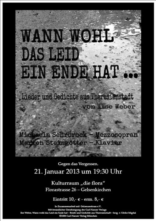 Holocaust-Gedenktag: Lieder und Gedichte aus Theresienstadt - Wann wohl das Leid ein Ende hat…