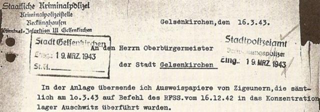 Deportation Gelsenkirchner Sinti und Roma nach Auschitz