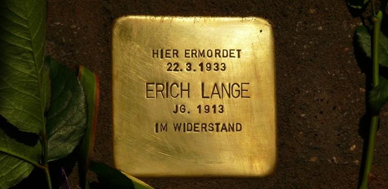 Ein Stolperstein erinnert an den Antifaschisten und Widerständler Erich Lange