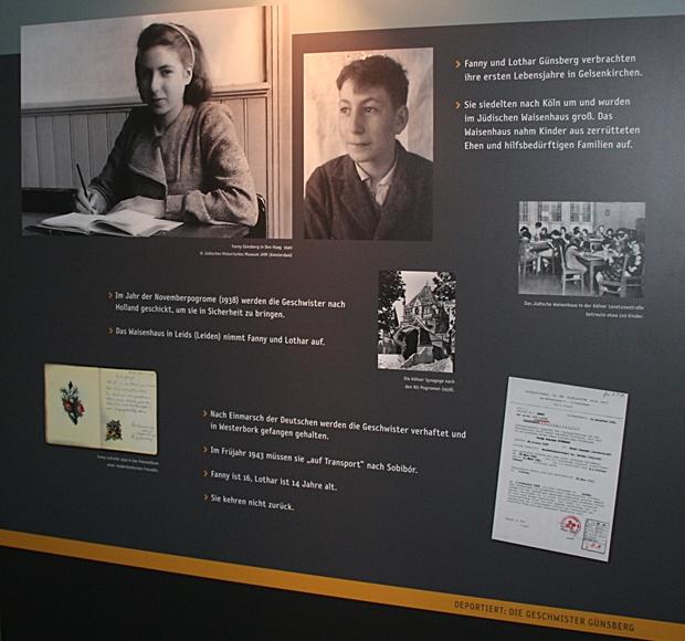 Blick in die fahrende Ausstellung: Fanny und Lothar Günsberg, geboren und aufgewachsen in Gelsenkirchen-Horst, wurden über Westerbork nach Sobibor deportiert. Sie kehrten nicht zurück.