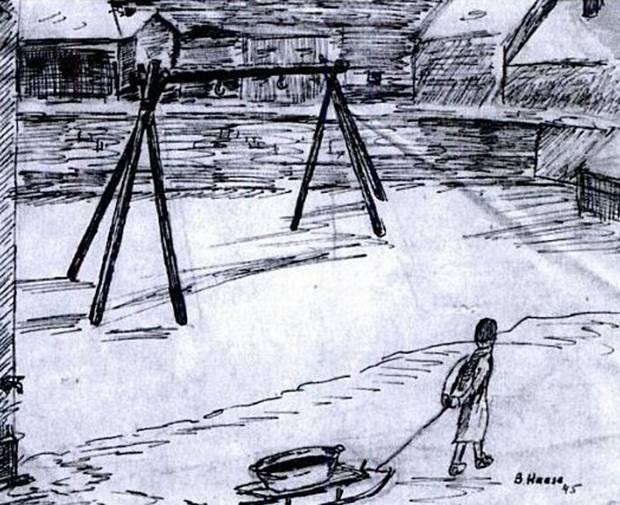 """Bernd Haase aus Gelsenkirchen überlebte die Hölle von Riga. Nach seiner Befreiung 1945 fertigte er eine Reihe von Zeichnungen, darunter auch den Galgen auf dem Blechplatz in Riga. Sein Weg zum Wasser holen führte ihn fast täglich an den erhängten Menschen vorbei. """"Kommandant des Ghettos war von Anfang an der SS-Hauptsturmführer Eduard Roschmann, der """"Schlächter von Riga"""". Sein Sadismus war gefürchtet. Jeden Abend standen Roschmann und einige seiner Schergen am Haupttor und machten Stichproben bei den Kolonnen, die vom """"Arbeitseinsatz"""" ins Lager zurückkehrten. Sie riefen willkürlich einen Mann, eine Frau oder ein Kind aus der Kolonne heraus und befahlen ihnen, sich neben dem Tor auszuziehen. Wurde eine Kartoffel oder ein Stück Brot gefunden, so musste die betreffende Person zurückbleiben, während die anderen zum Abendappell auf den Blechplatz weitermarschierten. Wenn alle dort versammelt waren, kam Roschmann mit den SS-Wachen und den zumeist etwa zehn bis fünfzehn des Lebensmittelschmuggels überführten Häftlingen die Straße zum Appellplatz entlang stolziert. Als erste bestiegen die männlichen Delinquenten das Galgengerüst; mit der Schlinge um den Hals mussten sie das Ende des Appells abwarten. Dann schritt Roschmann ihre Front ab. Er grinste den Todeskandidaten ins Gesicht und trat einem nach dem anderen den Stuhl unter den Füßen weg. Er hatte seinen Spaß daran, dies von vorn zu tun, damit der betreffende Häftling dabei sein Gesicht sehen konnte. Gelegentlich tat er auch nur so, als trete er den Stuhl weg, und zog überraschend seinen Fuß zurück. Er lachte schallend, wenn seinem Opfer, das sich schon am Strick zu hängen glaubte, klar wurde, dass es noch immer auf dem Stuhl stand, und heftig zu zittern begann."""""""