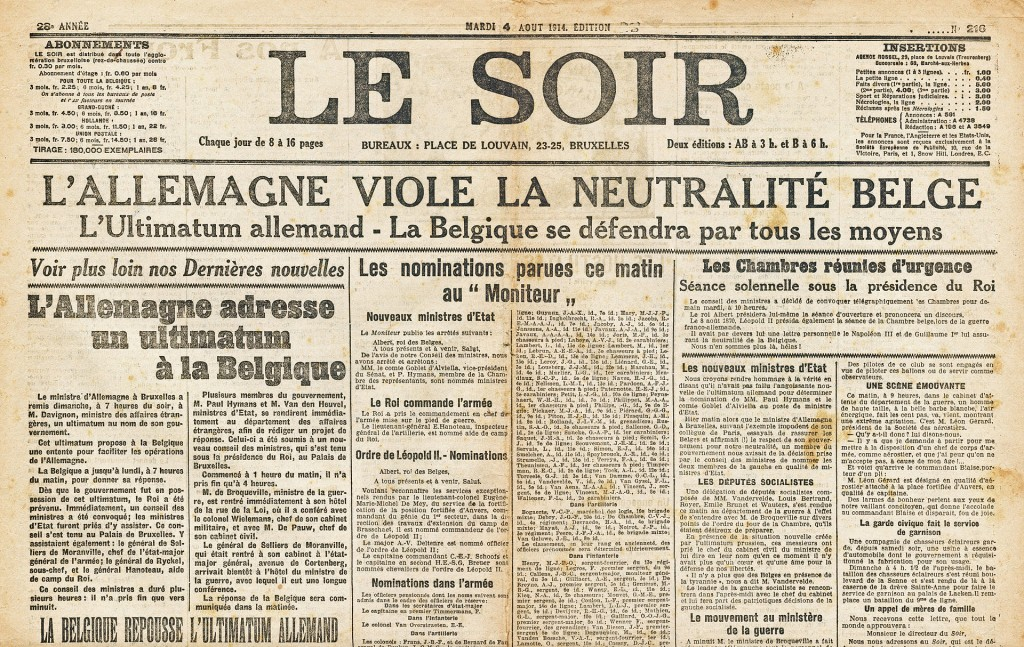 """Schlagzeile in der Zeitung """"Le Soir"""", Brüssel. Ausgabe vom  4.  August 1914"""