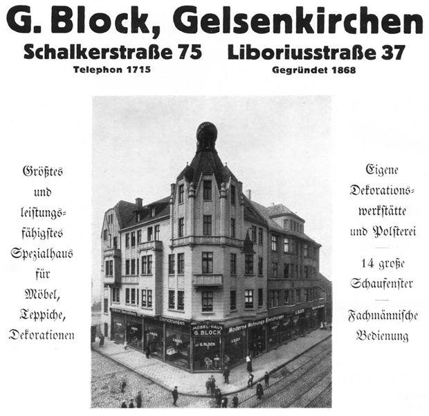 """Möbelhaus Block in Gelsenkirchen-Schalke, um 1927. Nach der so genannten """"Arisierung"""" im """"Dritten Reich"""" waren die Eheleute Theodor und Christine Ernsting, geborene Rosing die neuen """"Eigentümer. Sie führten das Möbelhaus unter dem Namen Rosing weiter"""""""