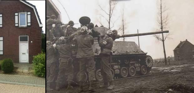 70 jahre nach Ende des 2. Weltkriegs. Bruce Brodowski findet das Haus, vor dem sein Vater auf einem Sherman-Panzer sitzend fotografiert wurde.