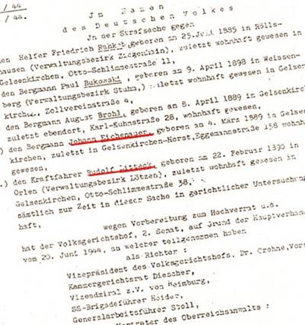 """Das """"Urteil"""" des so genannten """"Volksgerichtshofes"""""""