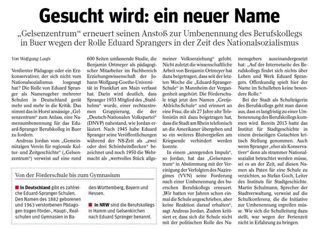 Gelsenkirchen: Eduard Spranger als Namensgeber ungeeignet